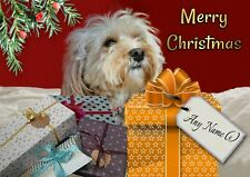 Personalised Cavapoo Christmas Card + Blank textured insert or your text inside