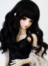 "8-9-10"" 1/3 BJD Medium Black Curly Wig LUTS Doll SD MSD Dollfie Iplehouse Hair L"