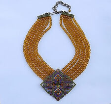 STUNNING Heidi Daus Art Deco Revival Necklace 6 Strands Yellow topaz Glass Beads