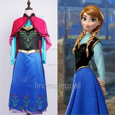 Frozen Adult Anna Dress with Cape Women Evening Party Cosplay Halloween Costume