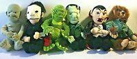 "Set 6 Universal Studios Monsters 1999 Plush Dracula Frankenstein Halloween 9"""