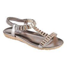 Ladies Diamante Sandals Pewter / Dark Silver Low Flat Heel Elasticated Strap