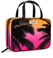 New~Victoria's Secret Hanging Travel Case Makeup Bag Hot Pink Orange Palm Trees