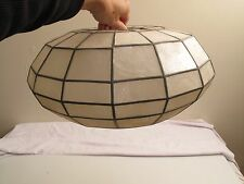Vtg Arts Crafts MCM Capiz Shell leaded MICA Pendant Lamp Shade UFO Bubble Shape