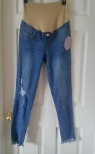 NWT Medium Wash Distressed Maternity Jeans with Frayed Bottoms Size M