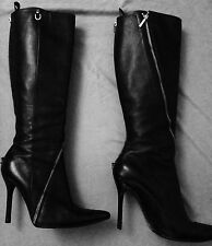 Dolce GABBANA Black Leather Heel Zippers Knee-High Boots Sz EU 39.5 US  9.5