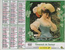 CALENDRIER ALMANACH DES PTT 1999 FEMMES AVEC CHAPEAU ET PETIT CHAT