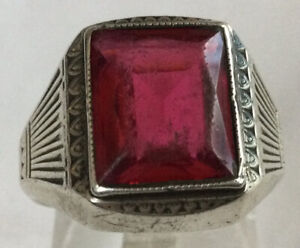 Handsome Rare Estate Sterling Silver 925 Red Spinel Cocktail Ring Sz 9 BH97
