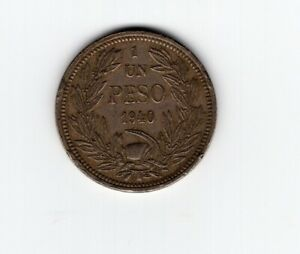 CHILE 1 PESO 1940 ANDEAN CONDOR O. Roty Copper Nickel L4