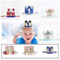 Boy Girl First Birthday Hat Princess Crown Number 1st Party Headband Glitter Hat