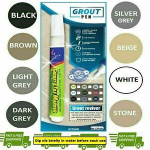 *GROUT PEN* REVIVES & RESTORES TILE GROUT ANTI-MOULD WHITE BLACK GREY SILVER UK