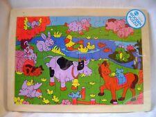 EN BOIS POUR ENFANTS ANIMAUX DE LA FERME PUZZLE PUZZLE 24 PIÈCES CADRE VACHE