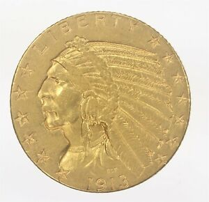 1913-S Indian Half Eagle Gold $5 ws464