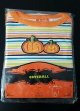 TARGET BOYS GIRLS SIZE 3-6M COVERALL NEW HALLOWEEN PUMPKINS STRIPED OUTFIT 3M 6M