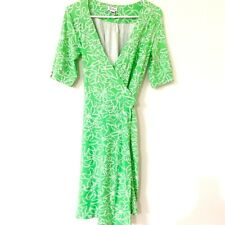 Lilly Pulitzer Wrap Dress Medium Vintage Bright Green Floral Stretch Jersey Knit