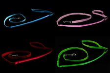 LED Flashing Dog Lead Light Up Luminous Night Pet Safety Walking Leash Nylon UK