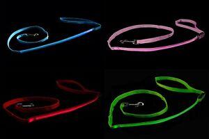 LED Flashing Dog Lead Light Up Luminous Night Pet Safety Walking Leash Nylon UK