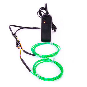 GloFX 6 ft Moving Tracer EL Wire - Green Motion Spiral Spinning Light Up Wires