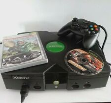 Microsoft Xbox Black Console 2003 Edition with HALO, FLATOUT & CONTROLLER. Works
