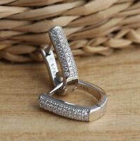 925 Sterling Silver Stylish 3 Row CZ V-Shaped Huggie Hoops Earrings Jewellery