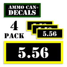 """5.56 Ammo Can Labels Ammunition Case 3""""x1.15"""" stickers decals 4 pack 5.56  BLYW"""