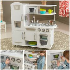 Kids Pretend Play Wooden Kitchen Vintage White Toy Life Like Food Playset Wood