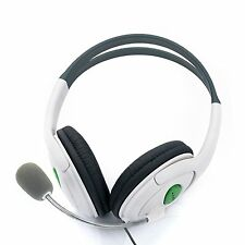 Wired XBOX 360 Live Headset Headphones + Mic Microphone for Gaming / White