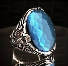 Turkish Eagle 925 Sterling Silver aqua aquamarine stone Mens ring ALL SİZE us