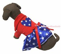 4th July Red T-shirt Top Blue Patriotic Star Heart Skirt Pet Dog Puppy Dress Bow