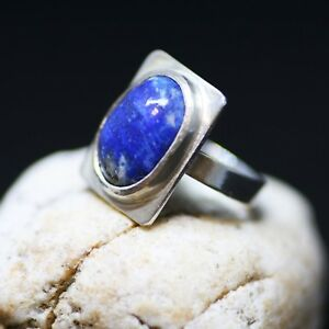 Natural Bezel Set Lapis Ring Sterling Silver Handmade 9th Anniversary Canada