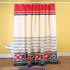 Lighthouse Seaside Nautical Shower Curtains &12 Hooks Sailboat Anchor Bath Decor