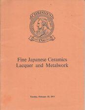 CHRISTIE'S JAPANESE Ceramics Lacquer Bronzes Metalwork Auction Catalog 1977