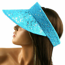 Summer Lace 4-3/4 Wide Brim Visor Golf Hat Cap Adjustable Turquoise Sequin