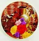 Metal Round Cookie Tin Photo Urn Pitcher Flowers Sewing Button Box 8.5'W Vintage