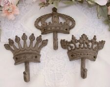 Set/3 Cast Iron Crown KING QUEEN PRINCESS WALL HOOK Brown