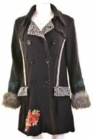 DESIGUAL Womens Double Breasted Coat Size 40 Medium Black Viscose  HA13