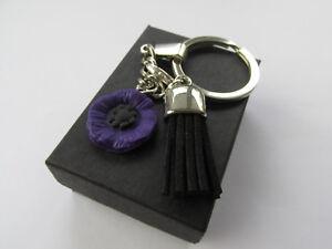 Handmade Mini Purple Poppy & Black Clip On Tassle Charm Keyring - Gift Boxed