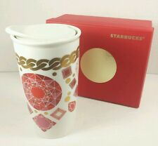 Starbucks Red Jewel Double Wall Traveler Ceramic Cup Mug 12 Oz Dot Collection