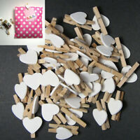 50pcs Wooden Clips White Heart Mini Pegs Clothespin DIY Cute Wedding Decor Craft