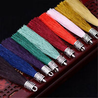"""5pcs 3"""" Polyester Silk Tassel Charms with Metal Cap For Handmade Jewelry Making"""