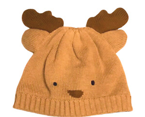 Gymboree Holiday Shop Boys Reindeer Lined Beanie Sweater Hat Sz 6-12 Months NWT