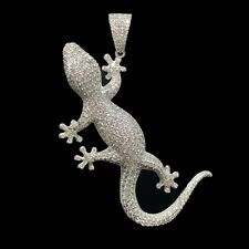 Real 925 Sterling Silver Lizard Hip Hop Charm Pendant - Silver