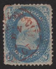1861, Us 1c, Used, Benjamin Franklin, Sc 63a, Red cancel