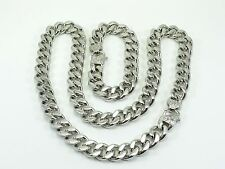 Necklace Bracelet Set Mens Curb Cuban Heavy Chain 15mm Stainless Steel Biker