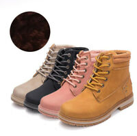 Womens Ladies Winter Ankle Boots Flat Heel Fur-lined Warm Shoes Waterproof Boots