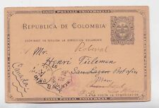 columbia 1892 2c stationery card via NY to canada,due chop         a546