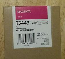 03-2019 Epson Genuine 220ml Ink T5443 (Magenta) Stylus Pro 4000/4400/9600