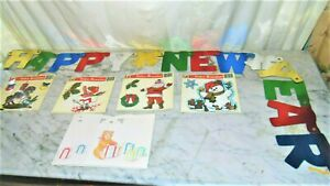 VTG~NEW~LOT 6~Christmas Static Cling Reusable Window Decorations & New Year~b70