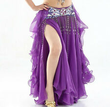 NEW High Quality Performance Belly Dance Costume 2 layer slit Ruffle Skirt Dress