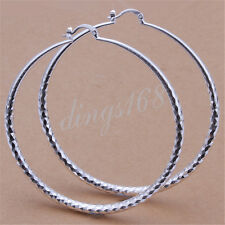 Ladies 925 Sterling Silver Diamond-Cut 70mm Large Light Weight Hoop Earrings H47